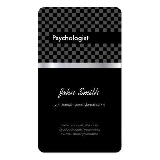 Psicólogo - Checkered preto elegante Cartões De Visita