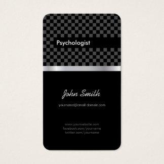 Psicólogo - Checkered preto elegante Cartão De Visitas
