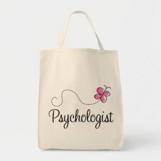 Psicólogo cor-de-rosa bonito da borboleta sacola tote de mercado