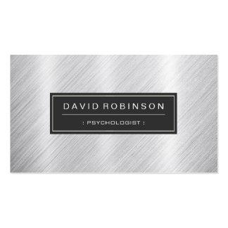 Psicólogo - olhar escovado moderno do metal cartão de visita