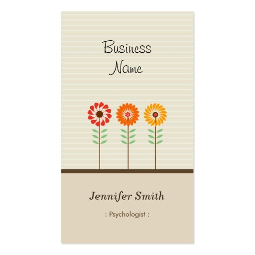 Psicólogo - tema floral bonito cartões de visita