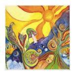 Psychedelic espécie Sun Birds - 60s hippy Woman - Impressão De Canvas Esticadas