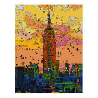 Psychedlic NYC: Empire State Building #1 Cartão Postal