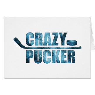 Pucker louco (hóquei) cartão comemorativo