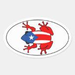 Puerto Rico - etiqueta de Coqui Adesivo Oval