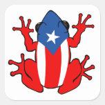 Puerto Rico - etiqueta de Coqui Adesivo Em Forma Quadrada