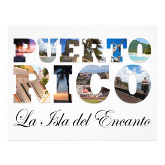 Puerto Rico La Isla Del Encanto Colagem/montagem Modelo De Panfletos