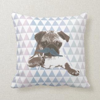 Pug azul do bigode do teste padrão moderno do travesseiros de decoração