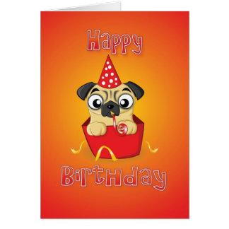 pug - caixa - feliz aniversario cartão comemorativo