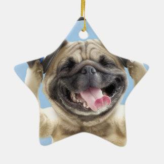 Pug com fones de ouvido, pug, animal de estimação ornamento de cerâmica