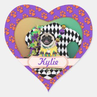 Pug do carnaval 2015 de Pugsgiving - Kylie - Adesivo Coração