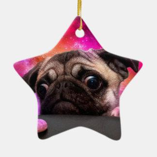 pug do espaço - comida do pug - biscoito do pug ornamento de cerâmica
