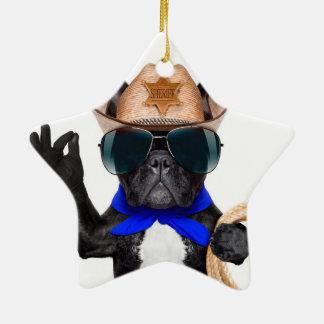 pug do vaqueiro - vaqueiro do cão ornamento de cerâmica