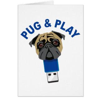 Pug e jogo cartão