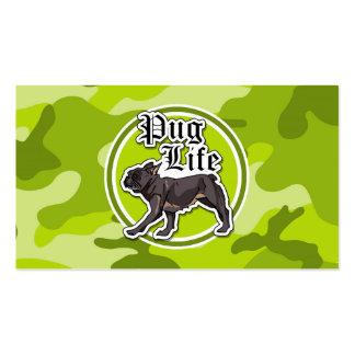 Pug engraçado camo verde-claro camuflagem cartoes de visitas