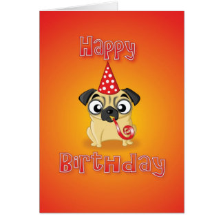 pug - hat&whistle - feliz aniversario cartão comemorativo