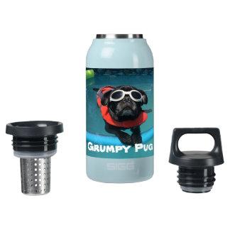 Pug mal-humorado garrafa de água térmica