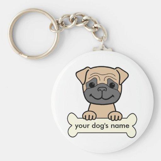 Pug personalizado chaveiros