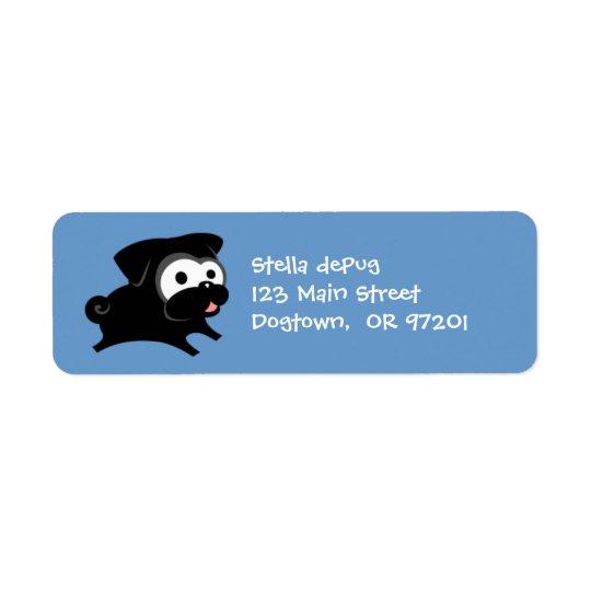 Pug preto customizável 2 etiquetas de endereço do etiqueta endereço de retorno