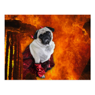 """Pug """"sexy"""" do diabo cartão postal"""