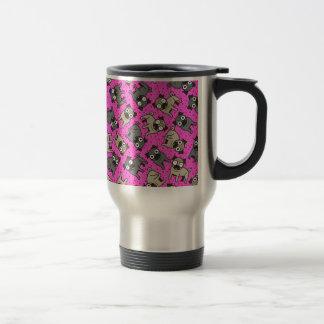 Pug-um-Ponto (rosa) Caneca Térmica