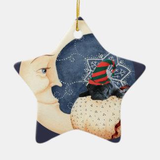 Pug você à lua! ornamento de cerâmica