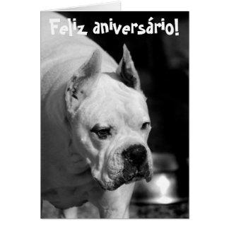 Pugilista branco Birthdaycard de Feliz Aniversário Cartão Comemorativo