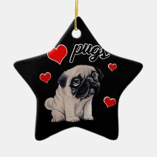 Pugs do amor ornamento de cerâmica