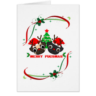 Pugs que cumprimentam o cartão de Natal