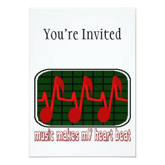 Pulsação do coração musical convite 12.7 x 17.78cm