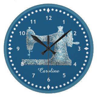 Pulso de disparo azul da máquina de costura do relógios de pendurar