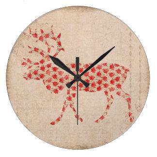 Pulso de disparo cor-de-rosa da silhueta do fanfar relógio para parede
