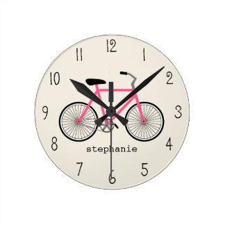 Pulso de disparo da bicicleta do rosa quente relógios para paredes