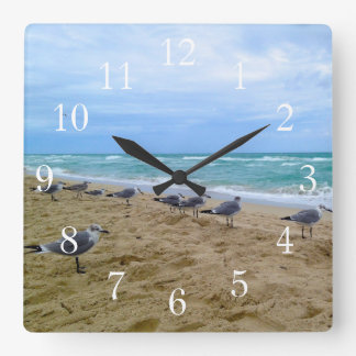 Pulso de disparo da praia da gaivota relógio quadrado