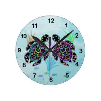 Pulso de disparo da tartaruga de mar do mosaico relógio redondo