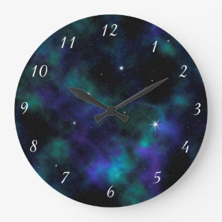 Pulso de disparo de parede azul e verde do design relógio grande