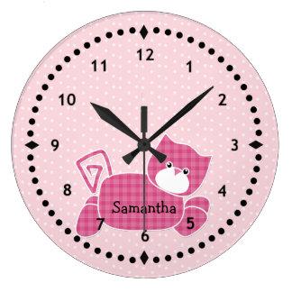 Pulso de disparo de parede cor-de-rosa do berçário relógios de pendurar