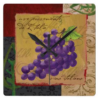 Pulso de disparo de parede das uvas de Tuscan Relógio Quadrado