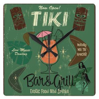 Pulso de disparo de parede de Tiki Bar&Grill Relógio Quadrado