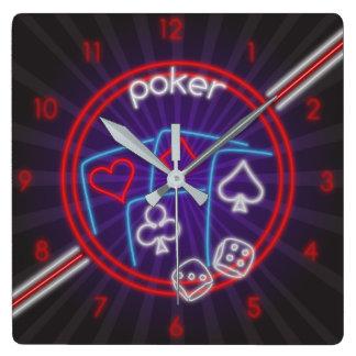Pulso de disparo de parede do tempo do póquer relógio quadrado
