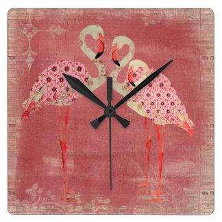 Pulso de disparo floral cor-de-rosa dos flamingos  relógios de paredes
