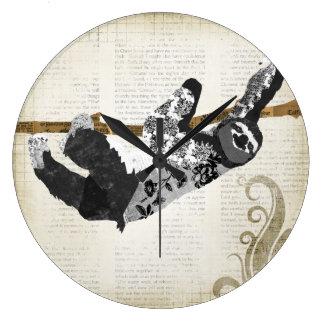 Pulso de disparo preto & branco do vintage da preg relógio para parede
