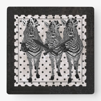 Pulso de disparo preto & branco retro das zebras relógios de paredes