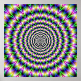 Pulso psicadélico no poster roxo e verde