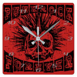 punk rock para sempre relógio quadrado