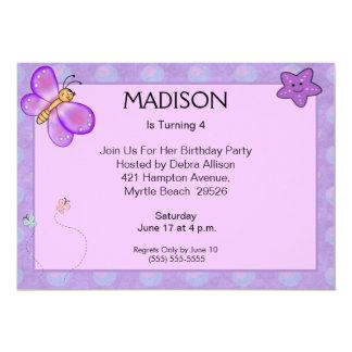 Purple Butterfly Birthday Invitations