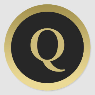 Q:: Ouro elegante do monograma Q e etiquetas Adesivo