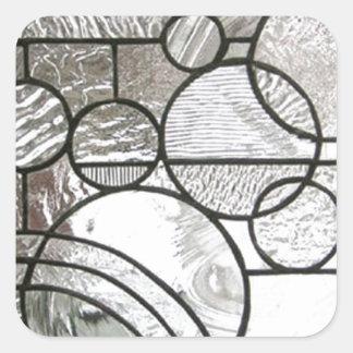 Quadrado abstrato do círculo do vitral claro adesivo quadrado