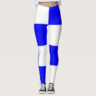 Quadrado Checkered branco azul de NOVEMBRO Legging
