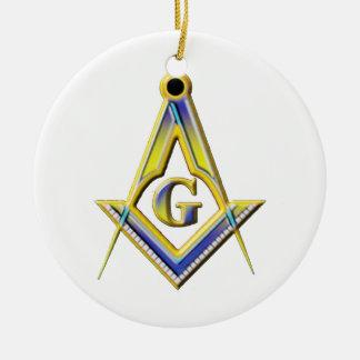 Quadrado & compassos do Freemason Ornamento De Cerâmica